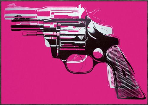 ART - POP ART GUN PINK canvas print - self adhesive poster - photo print